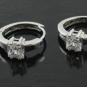 Diamonique Sterling Silver Hoop Earrings